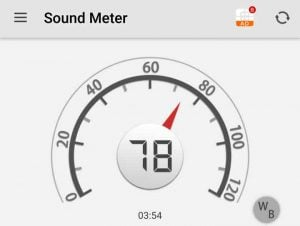 The Noise Level Is 78 db when going 12 MPH