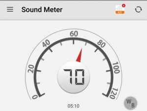 The Noise Level is  70 db when going 6 MPH