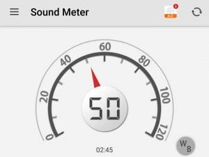The Sounds Level Is 50 db at the baseline speed