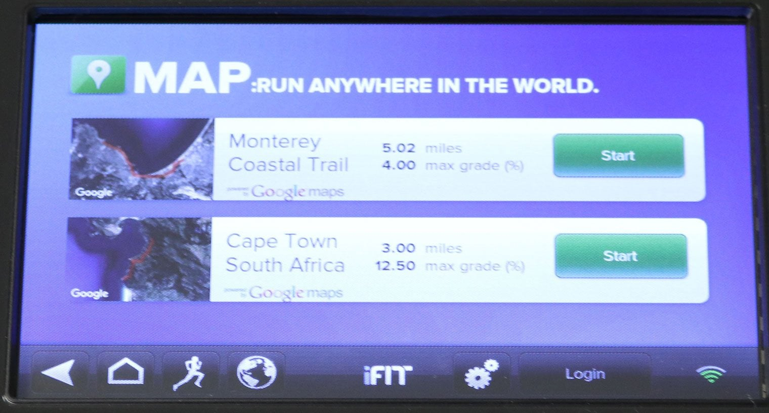 iFit Screen - Run Anywhere via Google Maps