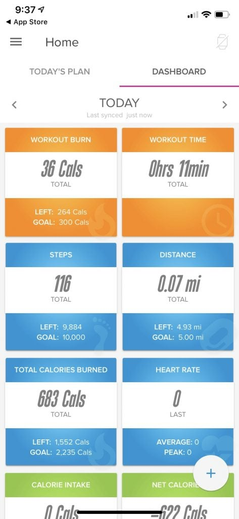 iFit Data Tracking Mobile App View