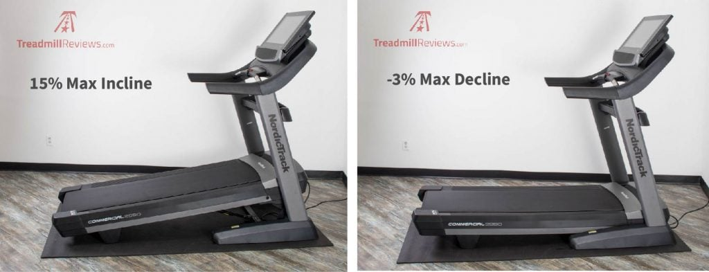 NordicTrack Commercial 2950 Treadmill Max Incline and Decline