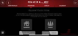 Sole F80 Treadmill Home Screen